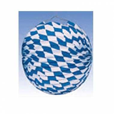 Feestwinkel | 10x blauw/wit geblokte oktoberfest lampionnen 25 cm mor