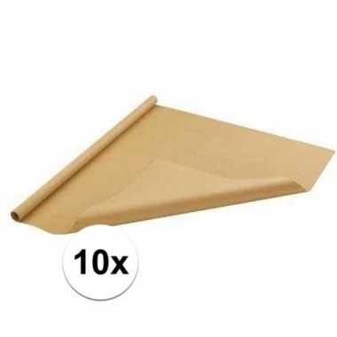 Feestwinkel | 10x bruin cadeaupapier 70 x 500 cm morgen amsterdam