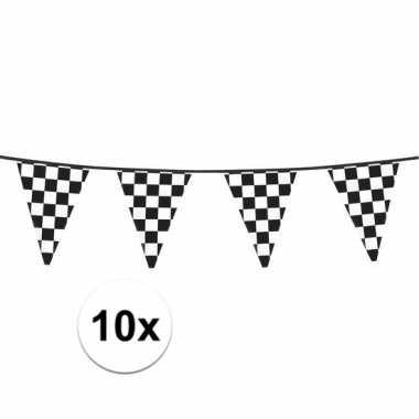Feestwinkel | 10x finish slinger met driehoek vlaggetjes 6 meter morg
