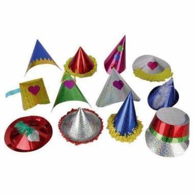 Feestwinkel | 10x gekleurde feest glitterhoedjes van papier morgen am