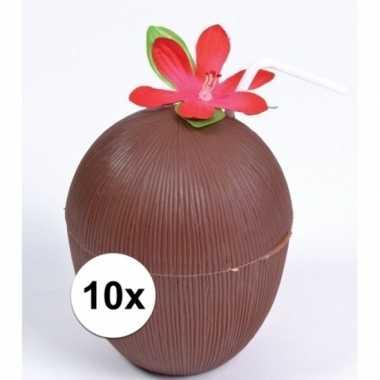 Feestwinkel | 10x hawaii drinkbekers kokosnoot model morgen amsterdam