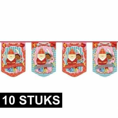Feestwinkel | 10x luxe sinterklaas slingers vlaggetjes 10 m morgen am
