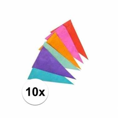 Feestwinkel | 10x papieren vlaggenlijn gekleurd 10 m morgen amsterdam
