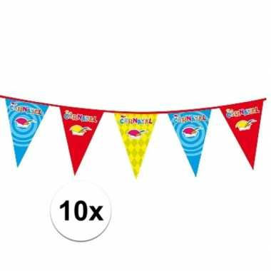 Feestwinkel | 10x plastic carnaval vlaggenlijnen morgen amsterdam