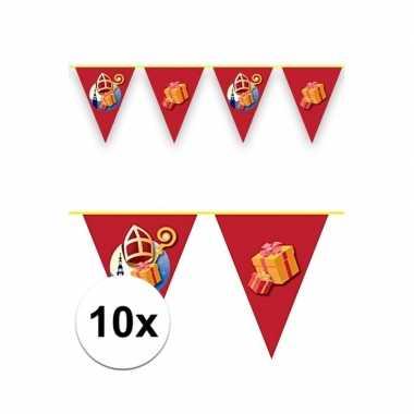 Feestwinkel | 10x sinterklaas decoratie vlaggen slinger rood 6 meter