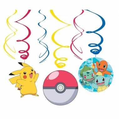 Feestwinkel | 12x pokemon feest hangdecoratie rotorspiralen morgen am