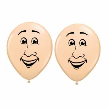 Feestwinkel | 12x stuks ballon mannen gezichtje van 40 cm morgen amsterdam