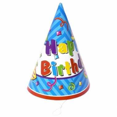 Feestwinkel | 12x stuks happy birthday feesthoedjes morgen amsterdam