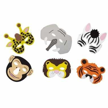 Feestwinkel | 12x verkleed/feest safaridieren maskers foam voor jonge