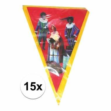 Feestwinkel | 15x sinterklaas vlaggenlijn versiering 5 meter morgen a