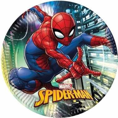 Feestwinkel | 16x marvel spiderman eetbordjes/gebaksbordjes 23 cm kin
