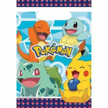 Feestwinkel | 16x pokemon eetuitdeelzakjes/snoepzakjes blauw 16 x 23
