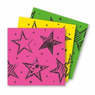 Feestwinkel | 18x felgekleurde feest servetten 33 x 33 cm kinderverja