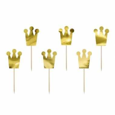 Feestwinkel | 18x prinsessen kroontje feest prikkertjes 18 cm morgen