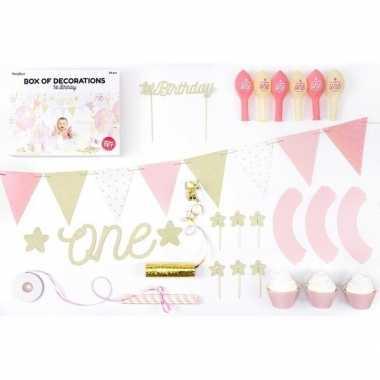 Feestwinkel | 1e verjaardag versiering pakket meisje 33-delig morgen