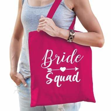 Feestwinkel | 1x bride squad vrijgezellenfeest tasje roze dames morgen amsterdam