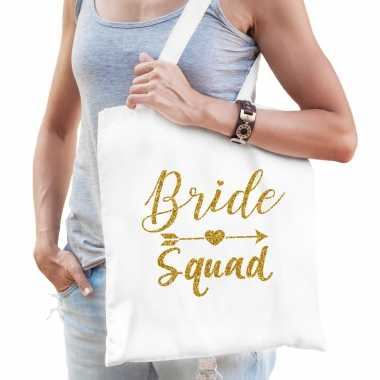 Feestwinkel | 1x bride squad vrijgezellenfeest tasje wit goud dames morgen amsterdam