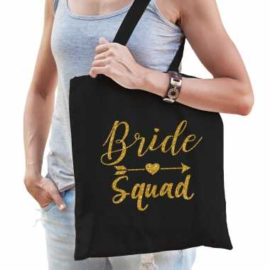 Feestwinkel | 1x bride squad vrijgezellenfeest tasje zwart goud dames morgen amsterdam