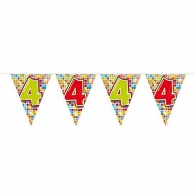 Feestwinkel | 1x mini vlaggenlijn / slinger verjaardag versiering 4 j