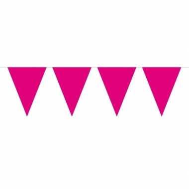 Feestwinkel | 1x mini vlaggetjeslijn slingers fuchsia roze 300 cm mor