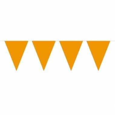 Feestwinkel | 1x mini vlaggetjeslijn slingers oranje 300 cm morgen am