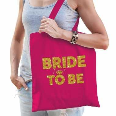 Feestwinkel | 1x vrijgezellen bride squad tasje roze goud dikke letters dames morgen amsterdam