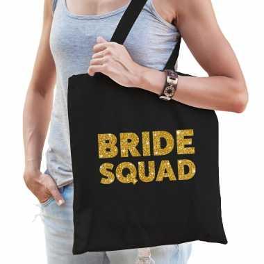 Feestwinkel   1x vrijgezellen bride squad tasje zwart goud dikke letters dames morgen amsterdam