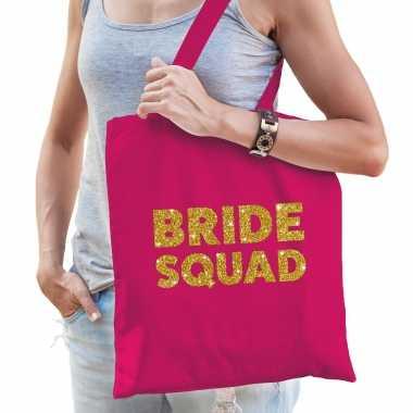 Feestwinkel | 1x vrijgezellen bride to be tasje roze goud dikke letters dames morgen amsterdam