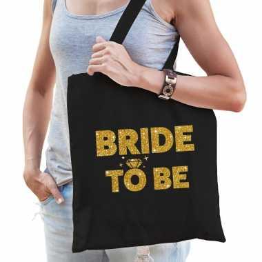 Feestwinkel | 1x vrijgezellen bride to be tasje zwart goud dikke letters dames morgen amsterdam