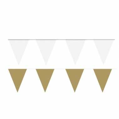 Feestwinkel | 200 meter witte/gouden buitenvlaggetjes morgen amsterda