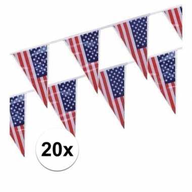 Feestwinkel | 20x amerikaanse usa punt vlaggetjes lijnen morgen amste