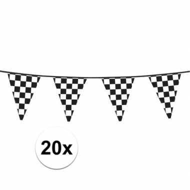 Feestwinkel | 20x finish slinger met driehoek vlaggetjes 6 meter morg