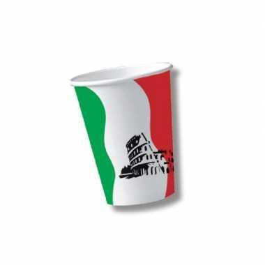 Feestwinkel | 20x stuks papieren italie/italiaans thema bekers morgen amsterdam