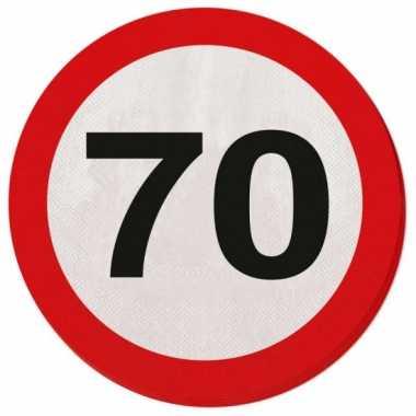 Feestwinkel | 20x zeventig/70 jaar feest servetten verkeersbord 33 cm