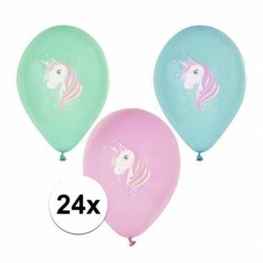 Feestwinkel | 24x eenhoorn thema verjaardag feest ballonnen gekleurd