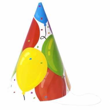Feestwinkel | 24x gekleurde ballonnen feesthoedjes karton morgen amst