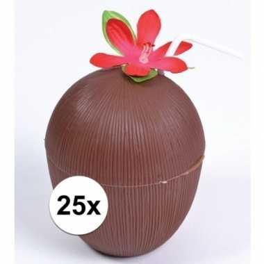 Feestwinkel | 25x hawaii drinkbekers kokosnoot model morgen amsterdam