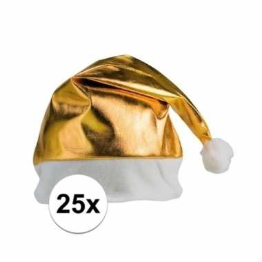 Feestwinkel | 25x stuks kerstmutsen glimmend goud morgen amsterdam