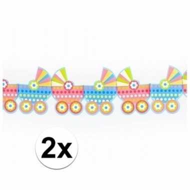 Feestwinkel | 2x babyshower versiering kinderwagen slingers morgen am