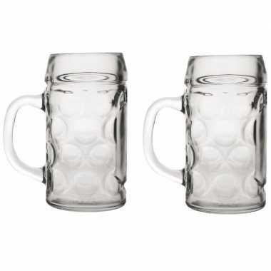 Feestwinkel | 2x bierpullen/bierglazen van 1 liter morgen amsterdam