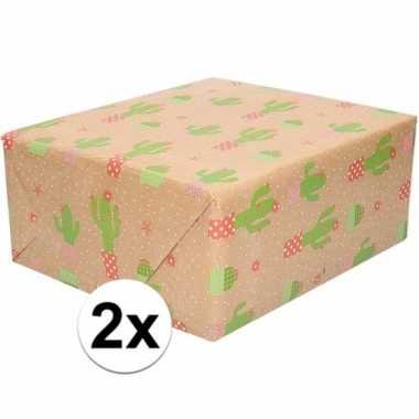 Feestwinkel   2x bruin cadeaupapier cactus print 70 x 200 cm morgen a