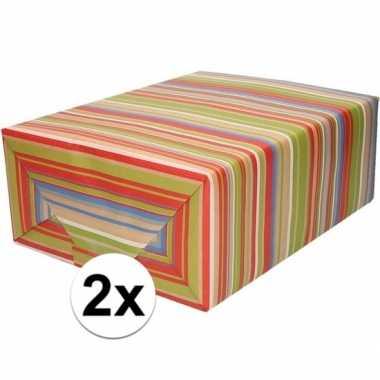 Feestwinkel   2x bruin cadeaupapier gekleurde strepen 70 x 200 cm mor