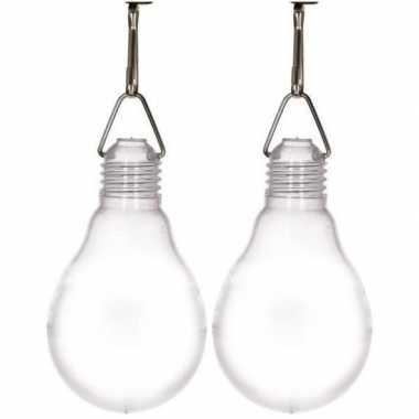 Feestwinkel | 2x buiten verlichting solar lampjes wit 11,8 cm morgen