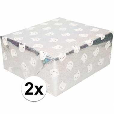 Feestwinkel | 2x cadeaupapier zilver glitter met witte kat 200 cm mor