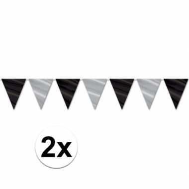2x feest vlaggenlijn zwart zilver glimmend