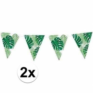 Feestwinkel | 2x feest vlaggenlijnen met bladeren 150 cm morgen amste