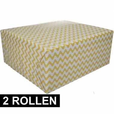 Feestwinkel | 2x geel cadeaupapier met grafische print 70 x 200 cm mo