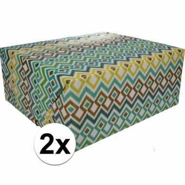 Feestwinkel | 2x gekleurd cadeaupapier 70 x 200 cm type 3 morgen amst
