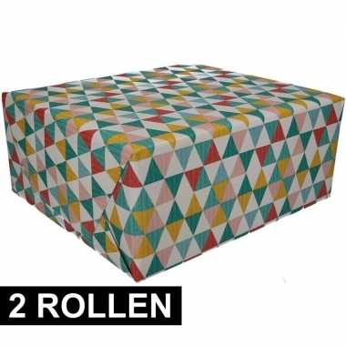 Feestwinkel | 2x gekleurd cadeaupapier 70 x 200 cm type 6 morgen amst