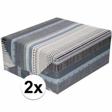 Feestwinkel | 2x gekleurd cadeaupapier met grijs zwart en witte print
